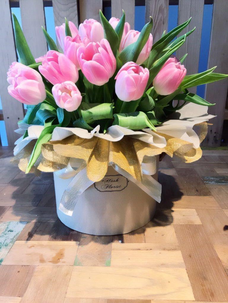Tulips bloom box. HasH florist. Singapore Table