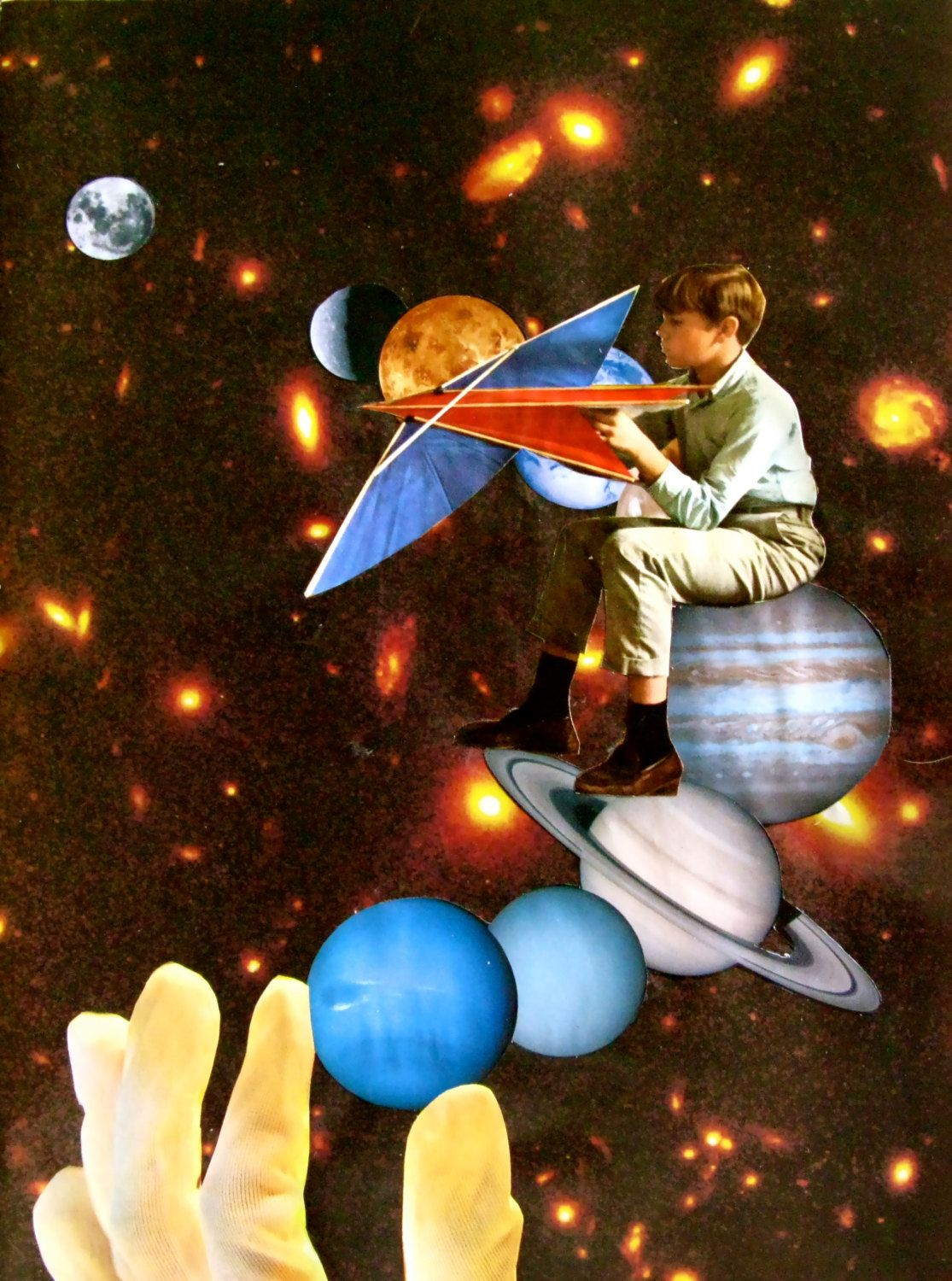 Kite Flying Weather - Original COLLAGE Montage SURREAL Collage-a-dada SPACE Universe - Cosmic Art by collageadada on Etsy