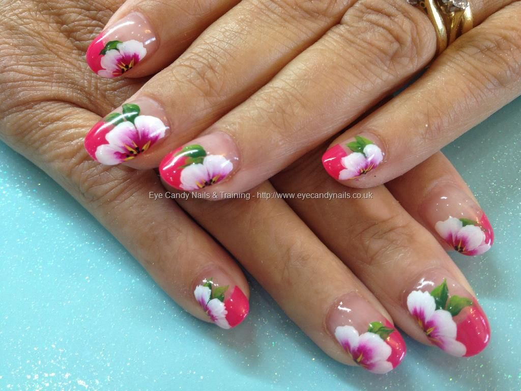 Acrylic overlays with one stroke freehand nail art