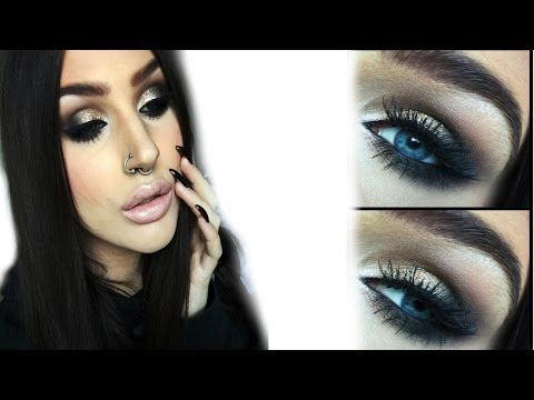 ♡ Kardashian NYE party makeup | GRWM Gold glitter smokey eye ♡ - YouTube