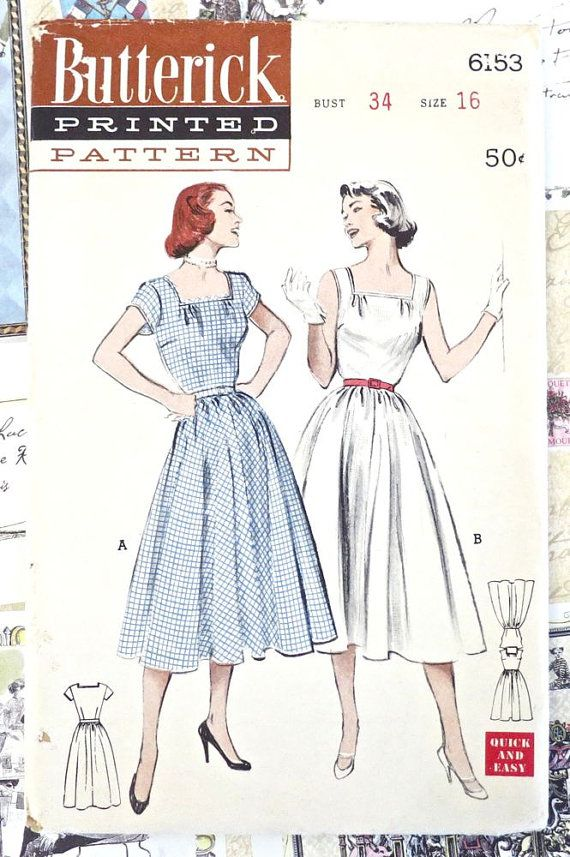 Vintage 1950s Womens Dress Pattern with Square Neckline and Full ...