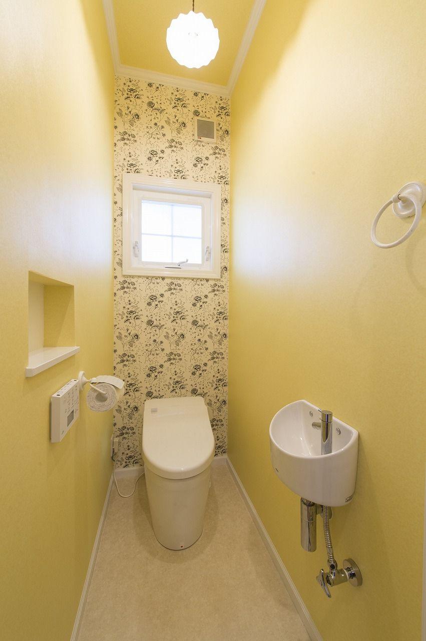 黄色いクロスのトイレ ブルースホーム小倉 トイレのアイデア トイレ おしゃれ シンプル トイレ