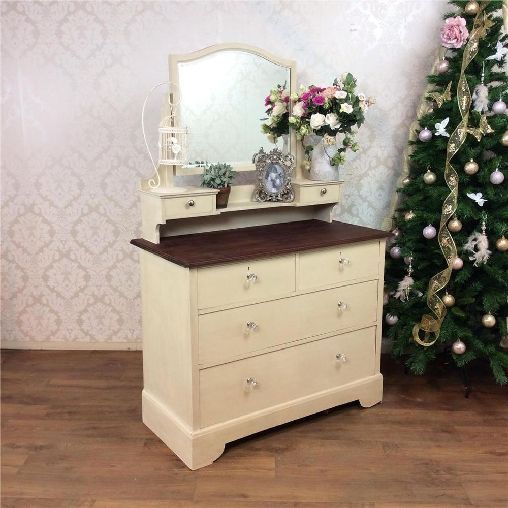 Upcycled Dressing Table With Glass Crystal Knobs Painted