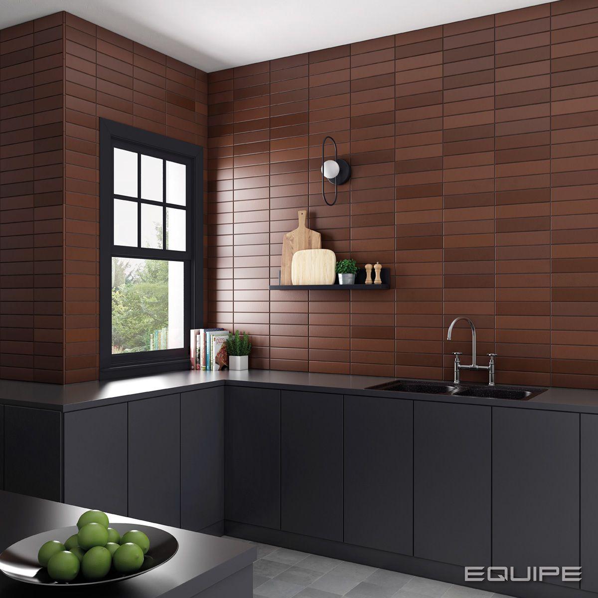 chocolate brown tiles kitchen