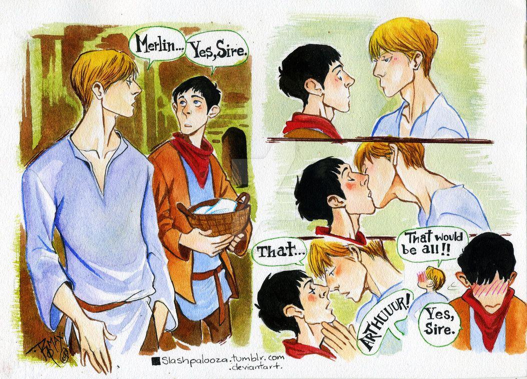MERTHUR kiss by Slashpalooza   Merthur   Merlin, Merlin