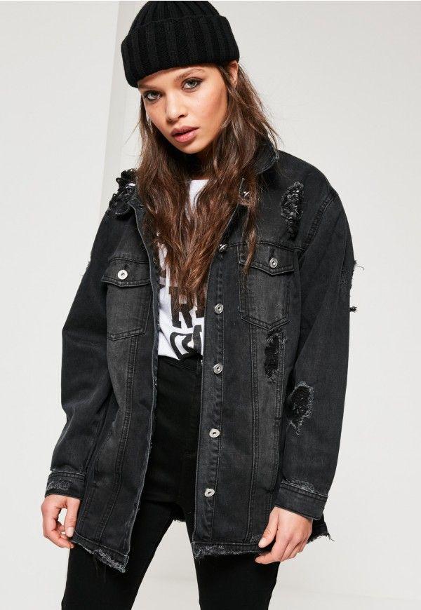 d7688edbebe Black Ripped Longer Length Denim Jacket in 2019 | fav outfits <3 ...