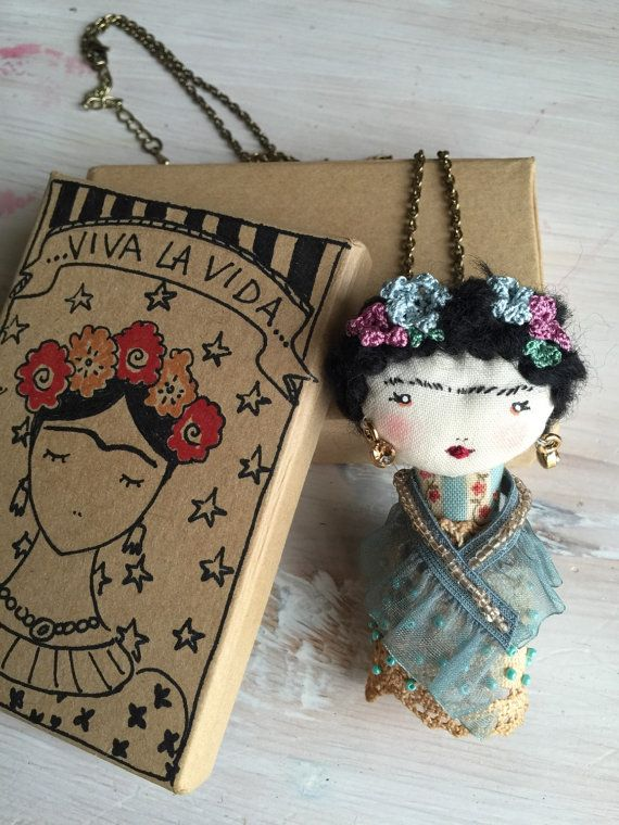 Frida Kahlo Ooak Doll embroided Haute Couture by PoudreRose