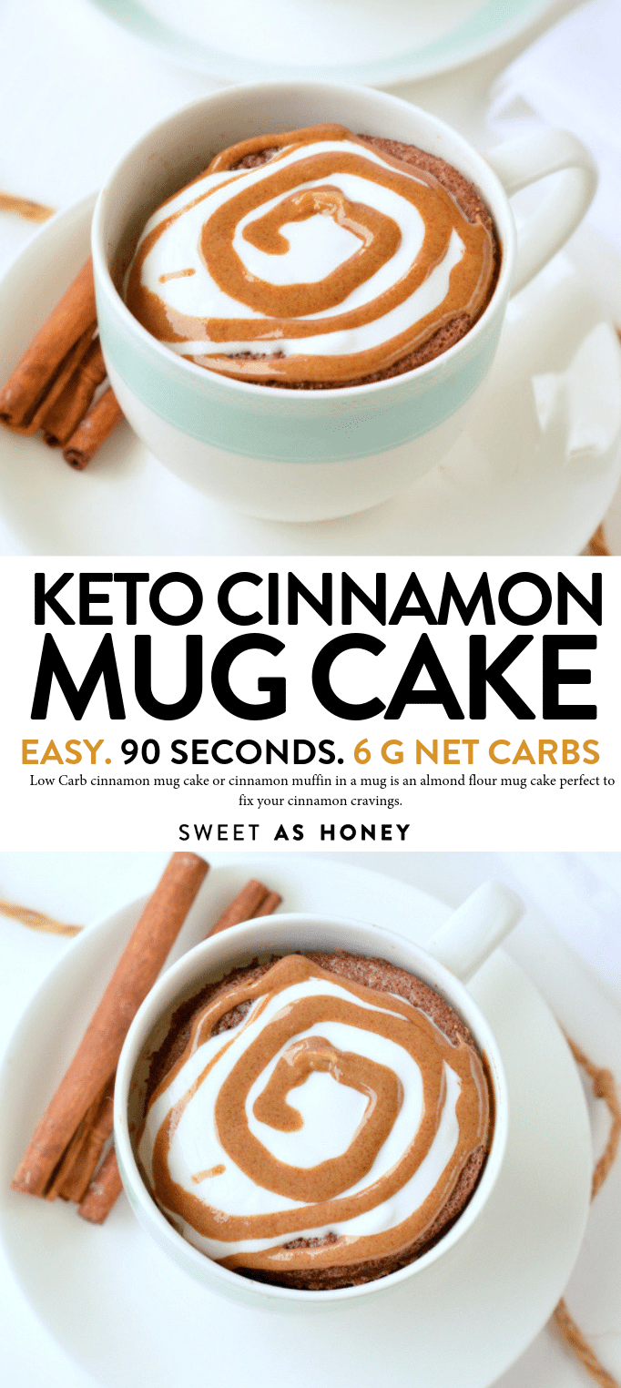 Low Carb cinnamon mug cake with almond flour, 90 seconds microwae recipe. Keto mug cake taste like a cinnamon roll in a mug. #ketomugcakes #lowcarbmugcakes #mugcake #microwave #cinnamon #ketorecipes #mugcake