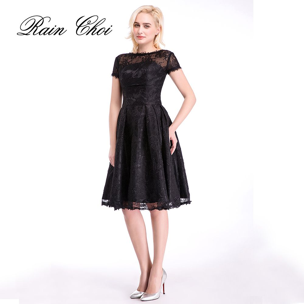 Click to buy ucuc black cocktail dress short sleeves formal d