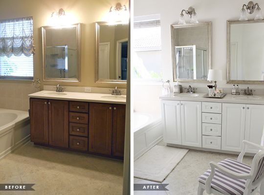 glamorous master bathroom update - Bathroom Cabinets Before And After