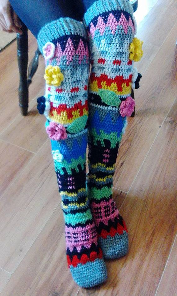 Knee socks crochet PDF pattern - INSTANT DOWNLOAD | Handarbeiten ...