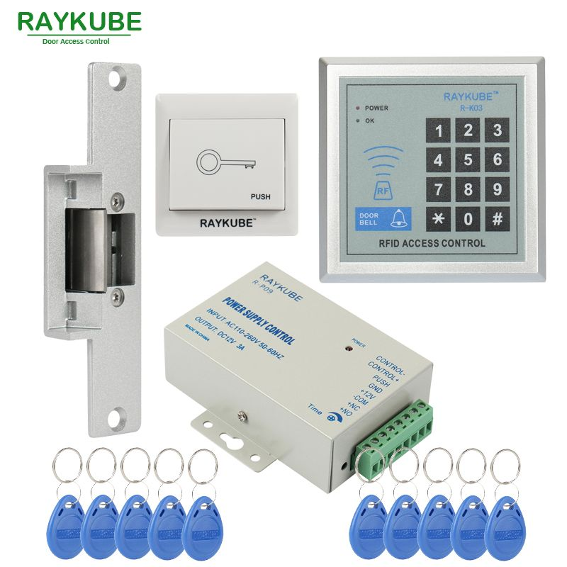 Raykube Special Offer Access Control Kit Electric Strike Lock Password Keypad Rfid Reader Counter Strike Access Control Access Control System Magnetic Lock