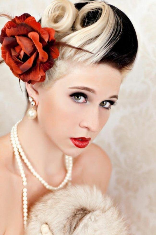 Frisuren Rockabilly Hochzeit Idee Cruella De Vil Stil Rose Perlen Kette Rockabilly Frisur Rockabilly Frisuren Frauen Hochzeitsfrisuren