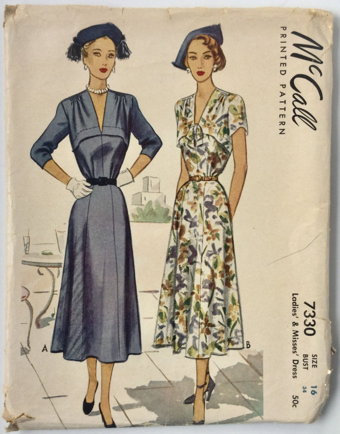 McCalls 7330 vintage dress pattern size 16, bust 34, C 1948 by ...