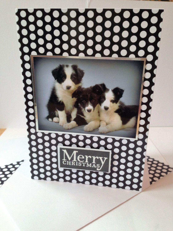 Collie Puppies Dog Christmas Greetings Card Unique Handmade Xmas Dog