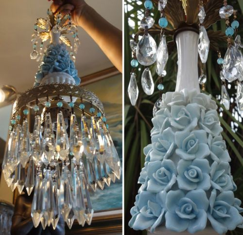 1o2-Porcelain-blue-barbola-Rose-Brass-chandelier-Swag-vintage-lamp-crystal-prism