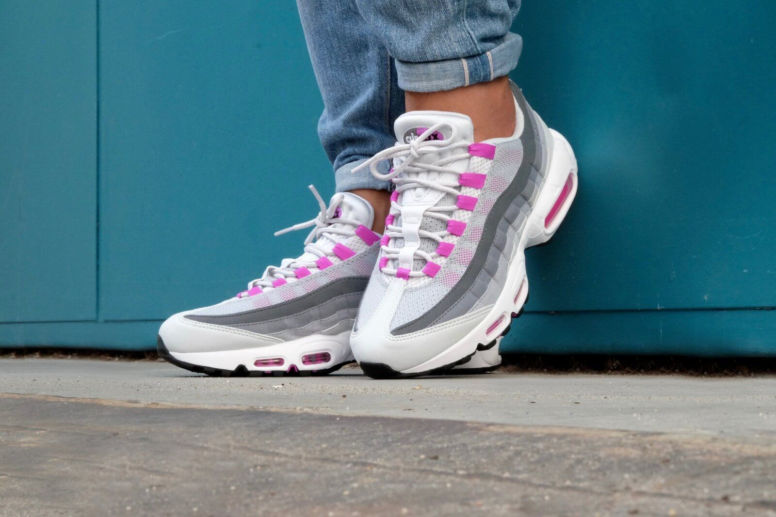 89e859956499 NIKE AIR MAX 95 PURE PLATINUM HYPER VIOLET WOMENS TRAINER 307960 001 ...