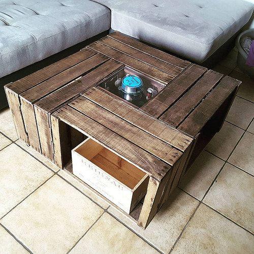 Une Table Basse Avec Des Caisses A Pommes Coffee Table Pallet Coffee Table Decor