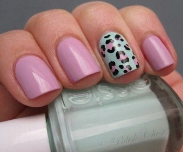 #nails #animalprint #pastels