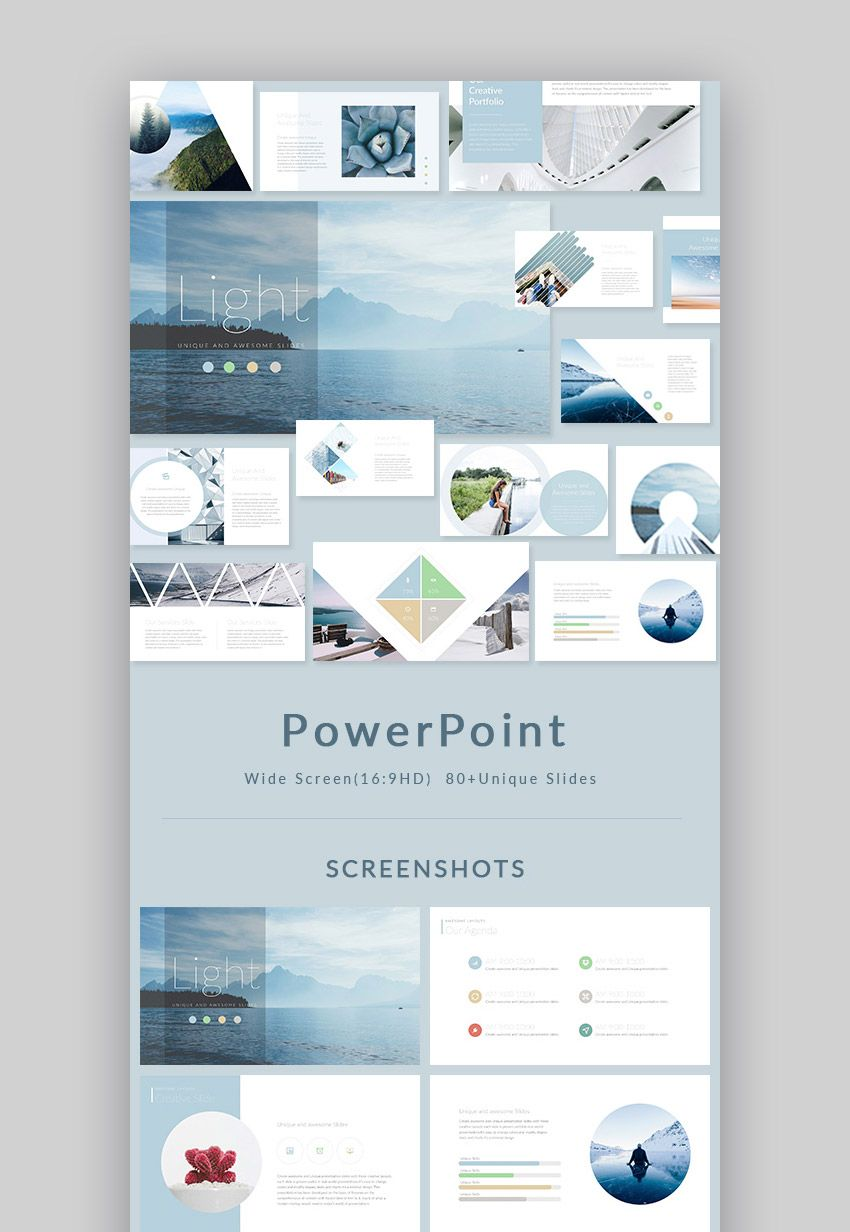 light stylish powerpoint presentation design set ppt