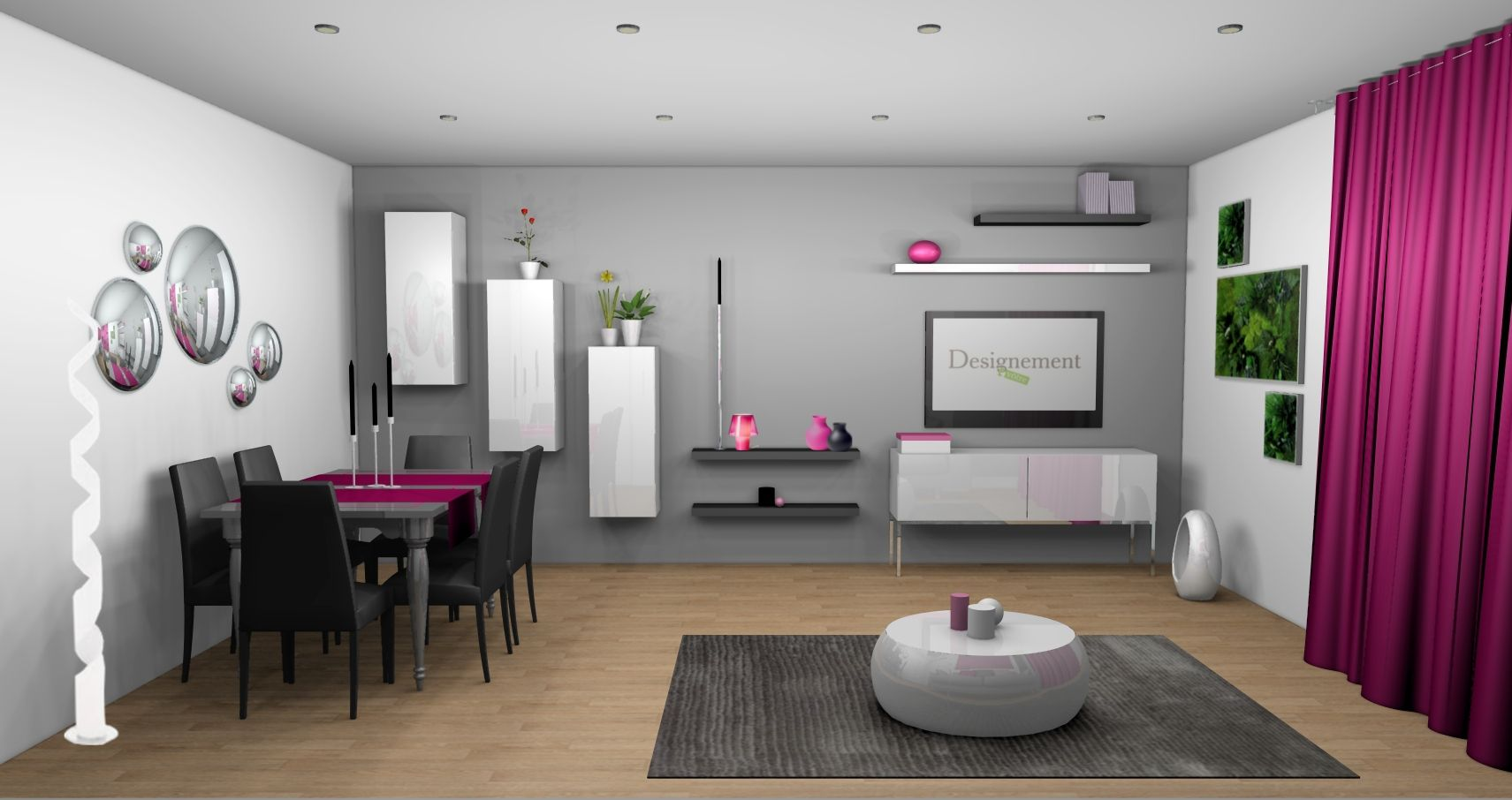 D co salon m r gris et blanc touche de couleur fushia for Deco salon design contemporain