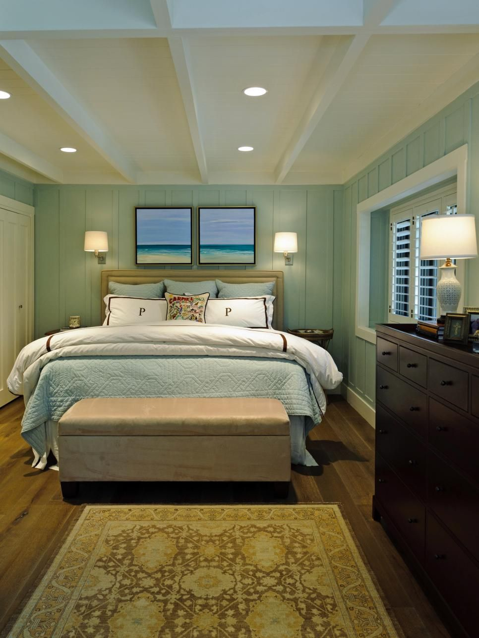 Beach Style Bedroom Designs Walls The Soft Hue Of Sea Mist And A Pair Of Tranquil Tropical