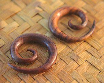 """0g Ear Stretcher, 1/3"""" 8mm 0ga Gauges Earrings w Spiral Expander Design, Pair of Wood Ear Expander Plugs Gauges Earrings"""