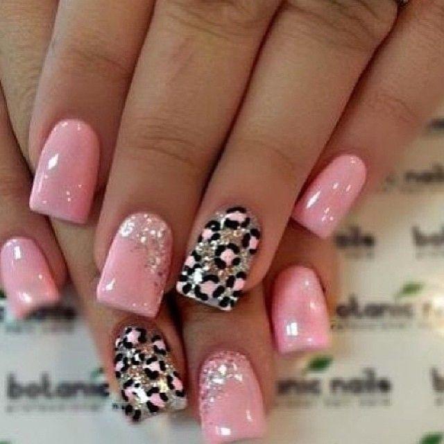 Pin By Natalia On Nails Leopard Nails Pink Nail Art Nails