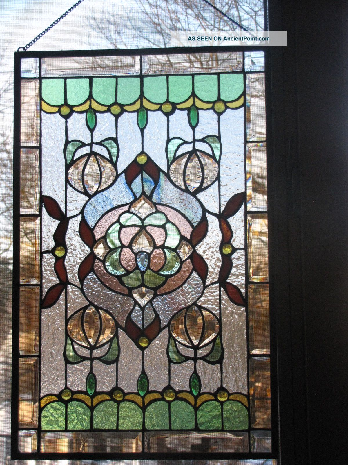 Leaded glass designs for windows - Vintage Stained Glass Windows Antique American Stained Glass Window Panel 1940 Now Photo 4
