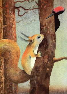 Image result for squirrel and woodpecker paintings