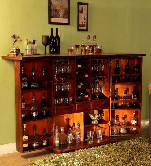 Buy Reno Bar Cabinet In Provincial Teak Finish By Woodsworth Online Bar Cabinets Bar Cabinets Pepperfry Bar Cabinet Small Bar Cabinet Bar Furniture