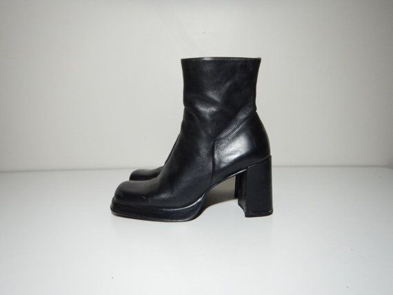 55133daeaf61 90s minimalist platform black leather square toe boots by 33vtg