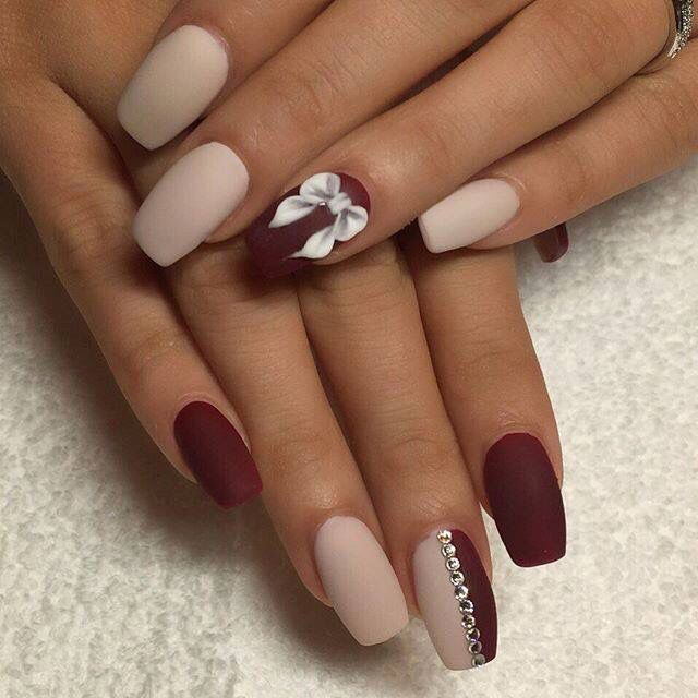 Loving the matte colors on this white and maroon nail art design. Matte  always gives your design that sophisticated look and with addition of  silver ... - Pin By 👑FASHION QUEEN👑 On Nails Pinterest Coffin Nails, Wine