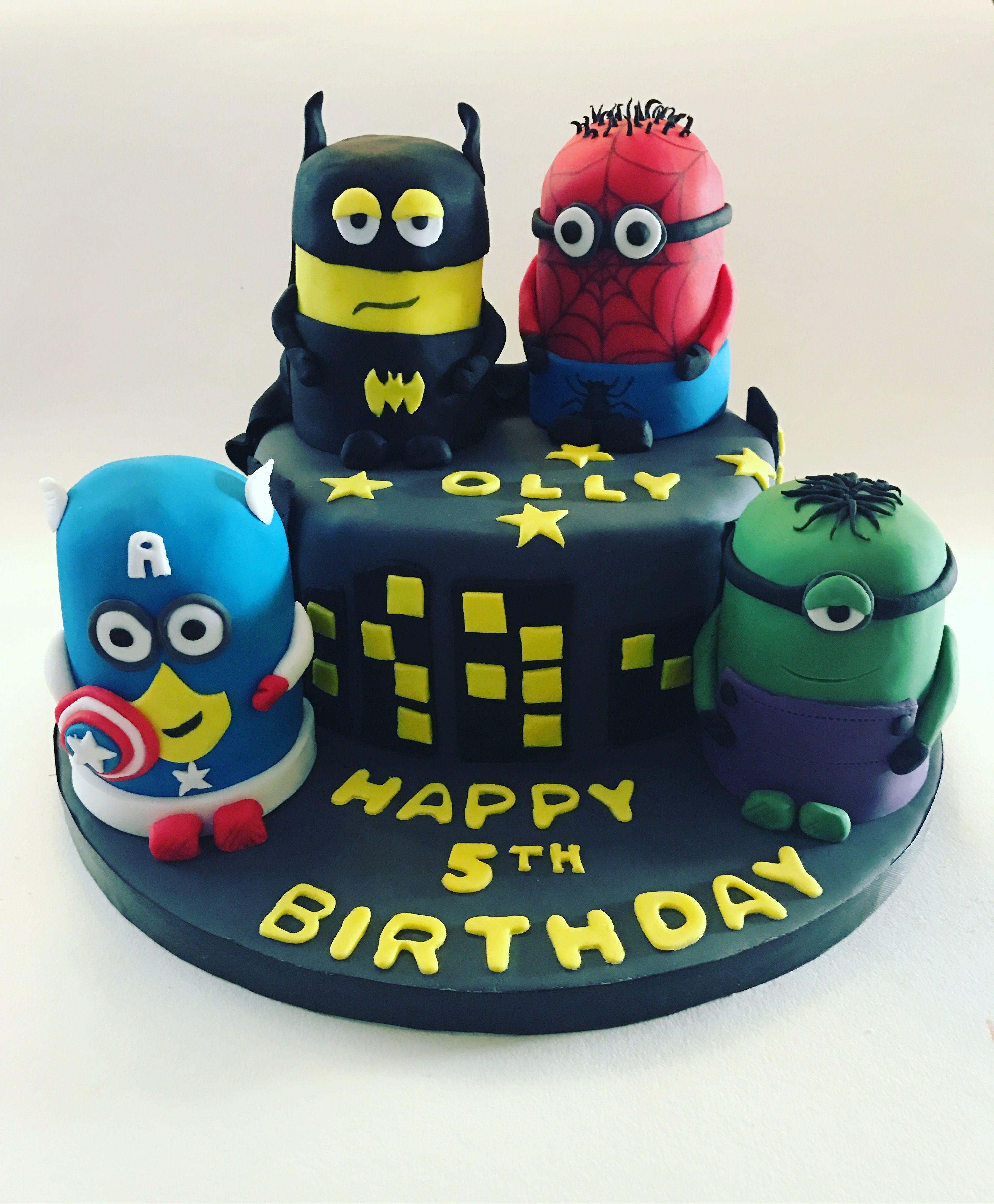 Minion and super hero cake