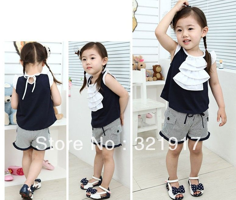 New Arrival 5sets/lot summer popular baby girl suit  sleeveless top+pants children sets baby girl wear children clothes