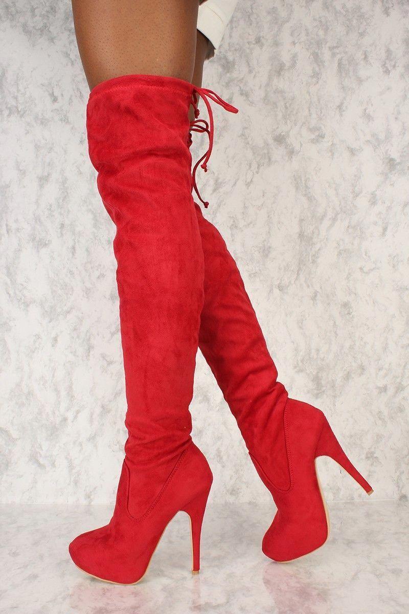 febcc3d8f403 Sexy Red Platform Pump Thigh High Ami Clubwear Boots  Platformhighheels