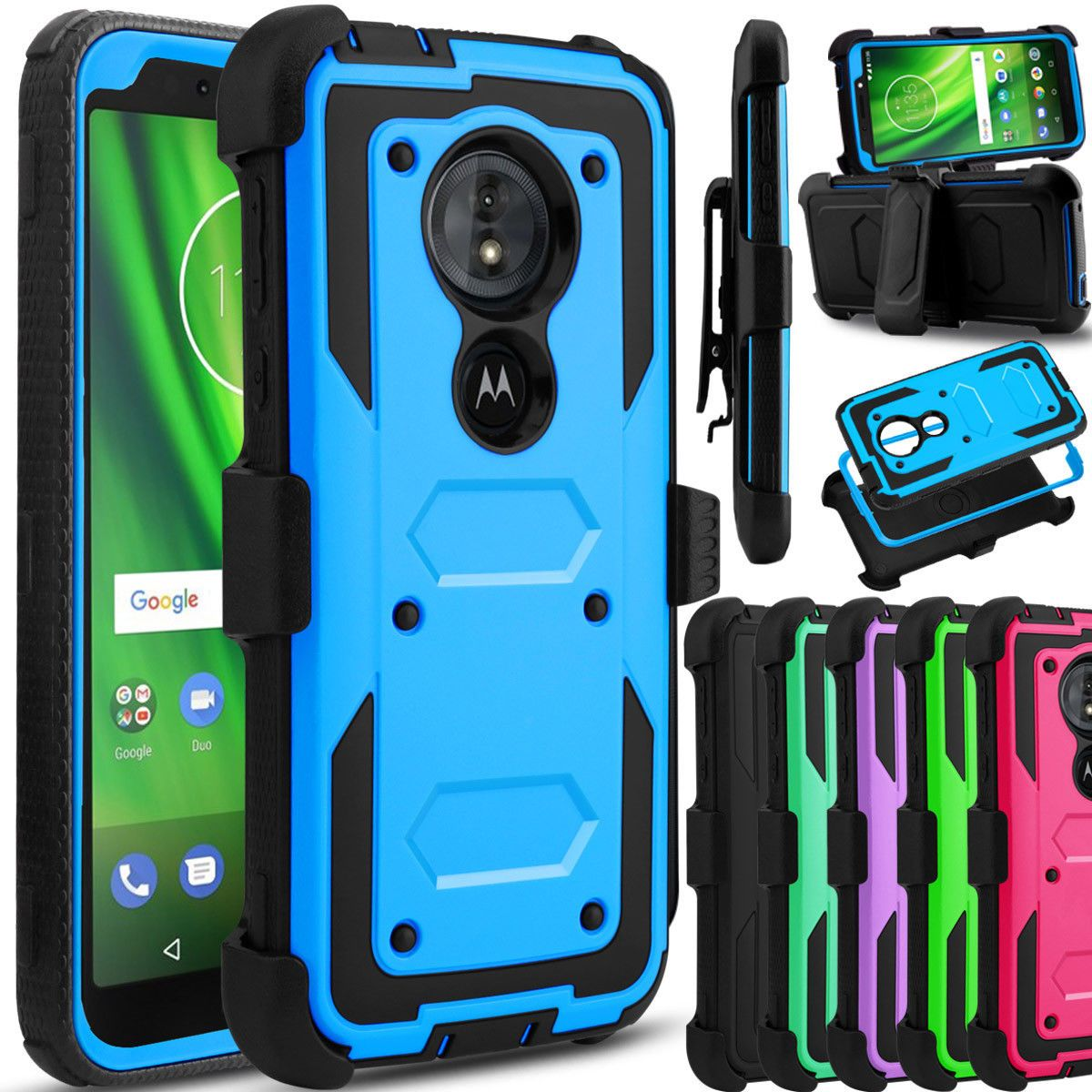 For Motorola Moto G6 Play Forge Phone Case Hybrid Clip Holster Stand Armor Cover