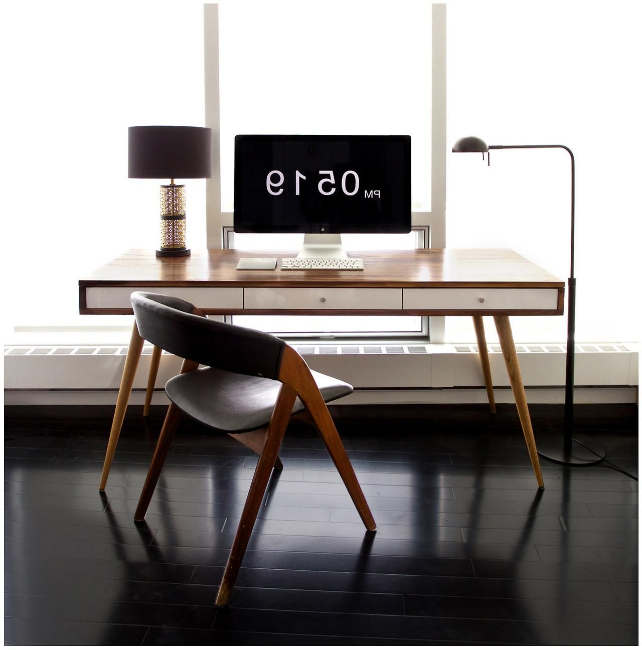 white wood office desk. Stunning Wooden Office Desk Design With White Three Drawer Underneath As Well Atrractive Chair Including Dark Floor Also Wide Glass Window Front Wood