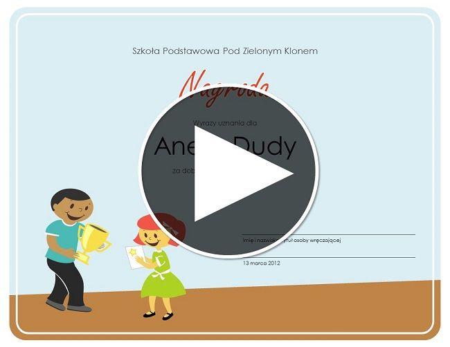 Profesjonalnie wyglądający dyplom można przygotować samodzielnie bez znajomości programów graficznych, w artykule instrukcja krok po kroku. Jak samodzielnie przygotować dyplomy lub certyfikaty?  Wejdź na stronę z szablonami Ms Office. Wybierz wygląd szablonu    3. Kliknij Otwórz w Power Point Online