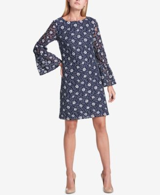 8177e5a7c5d Tommy Hilfiger Lace Bell-Sleeve Dress, Created for Macy's - Blue 18 ...