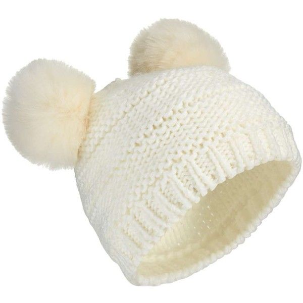 Miss Selfridge Ivory Double Pom Hat ($22) ❤ liked on Polyvore featuring accessories, hats, ivory, miss selfridge, pompom hat, fur pom-pom hats, fur pom pom hat and white winter hat