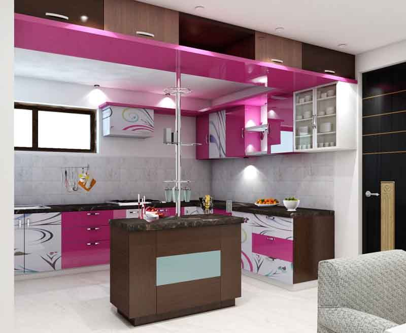 Simple kitchen interior design for 1bhk house with bright color - Small kitchen interior design ...