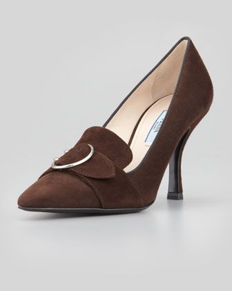 Mid-Heel Pointed Loafer Pump, Brown by Prada at Neiman Marcus.