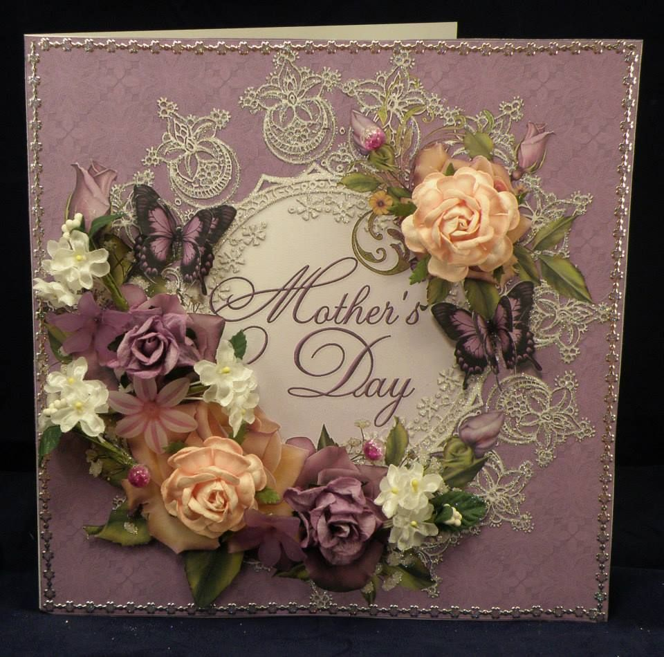 Vintage Roses for Mothers Day. 8 x 8 boxed decoupaged card. Available from:www.therhodaharveycollection.co.uk