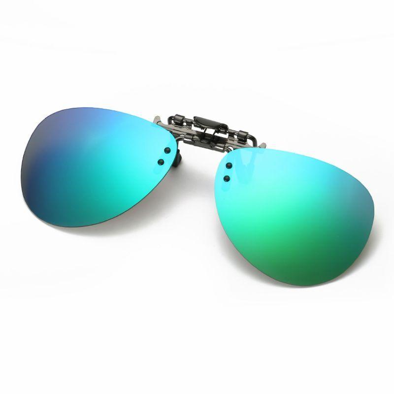 5f3a9935d7 Mirror Green Polarized Clip On Sunglasses Lenses For Prescription Glasses