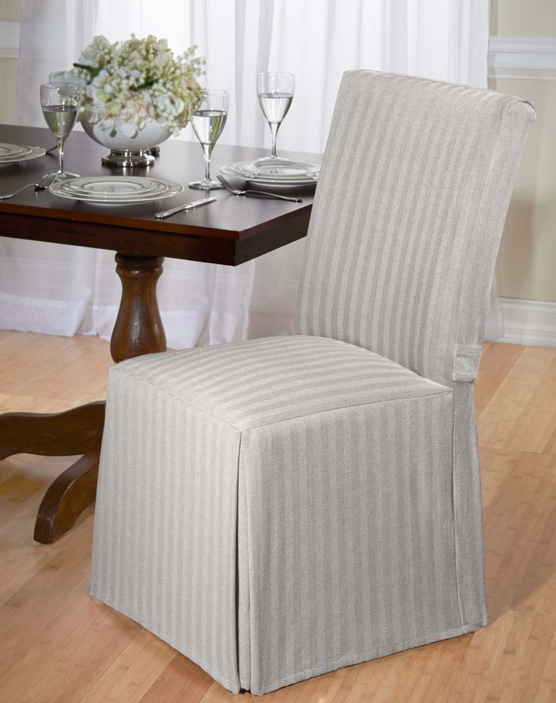 Luxurious Cotton Dining Chair Cover Herringbone Back Tie