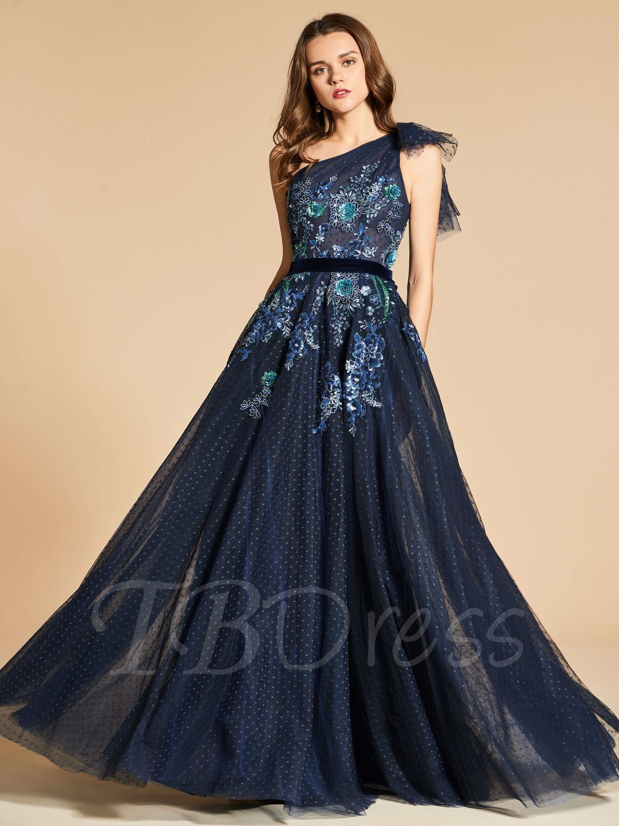 Lace aline oneshoulder floorlength evening dress wedding dress