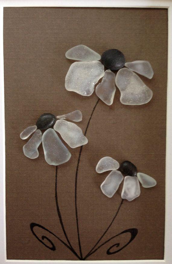 Genuine Sea Glass Art Pebble Art Wall Decor Home Decor Flowers