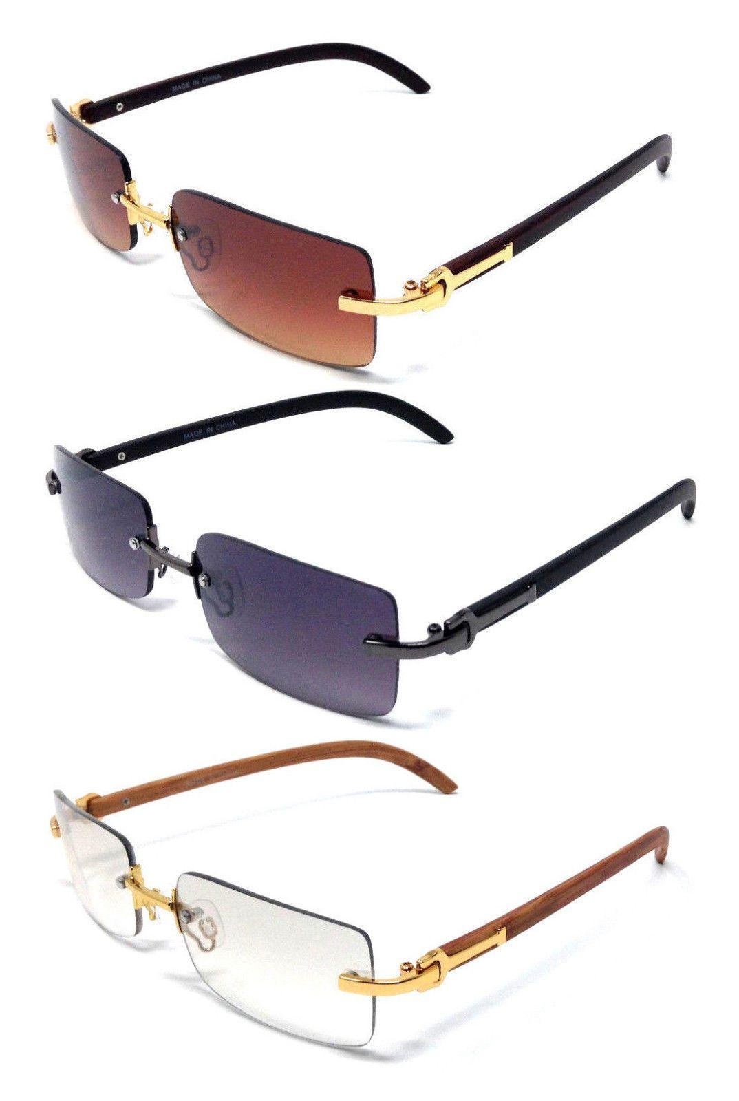 518abfe536e Premier Slim Rimless Rectangular Sunglasses Metal Wood Print Frame Luxury  Vtg