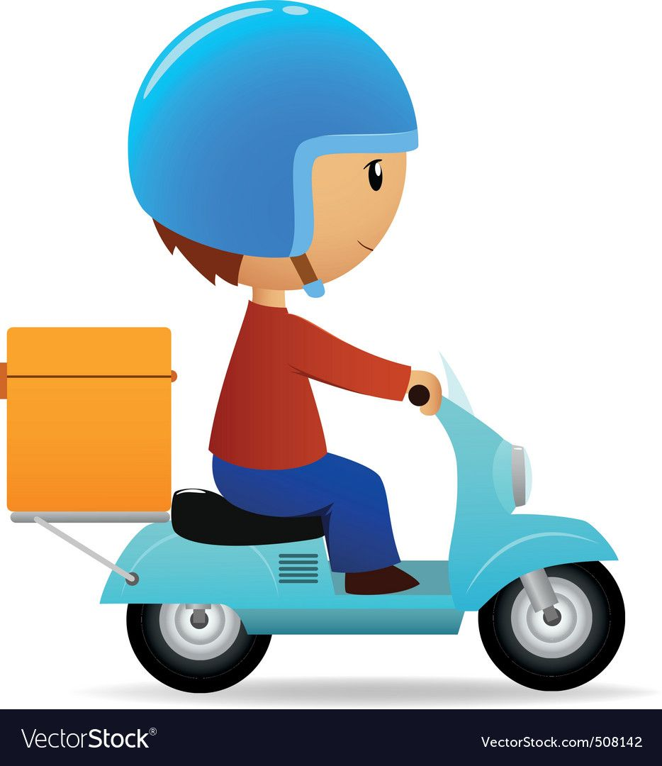 Delivery Cartoon Scooter With Big Orange Box Vector Image On With